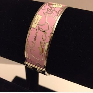 Coach Pink/Silver Enamel Bangle Bracelet